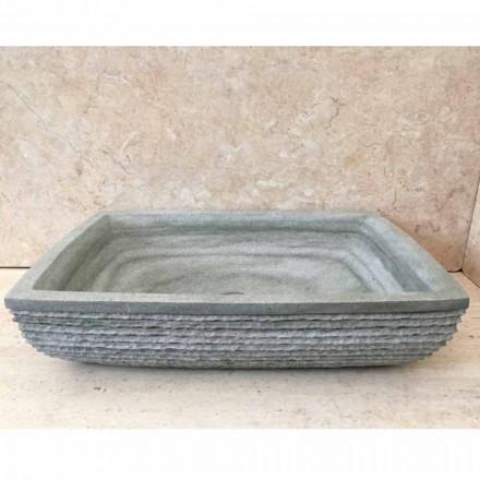 Green natural stone washbasin Hilda, handcrafted unique piece