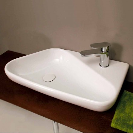 Wall-mount / countertop ceramic hand basin Sheyla, made in Italy