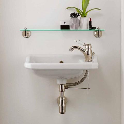 Suspended Handwashbasin in Classic Design Ceramic, Made in Italy - Nausica