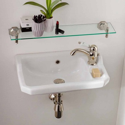 Suspended Handwashbasin in Classic Design Ceramic, Made in Italy - Nausica