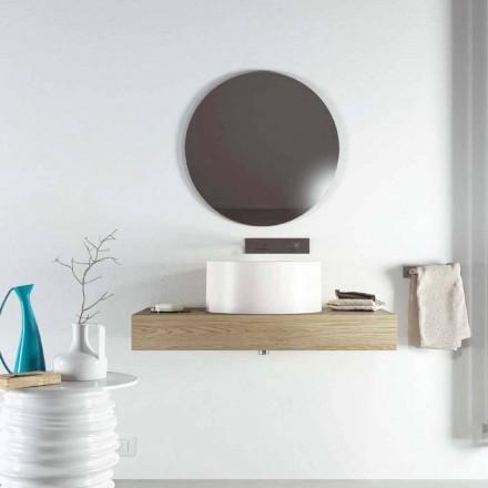 Design round countertop washbasin produced 100 % in Italy, Forino