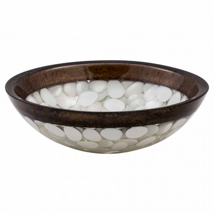 Circular countertop basin handmade of resin, Buguggiate, unique piece