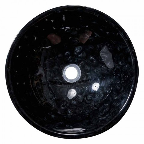 Countertop design sink handmade in black resin, Bultei