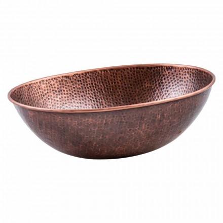 Modern oval countertop washbasin in copper, Pagliara, unique piece