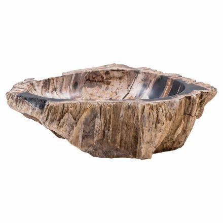 Handmade countertop washbasin in fossil wood, Nesso, unique piece