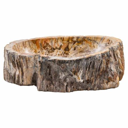 Handmade countertop washbasin in fossil wood, Neviglie, unique piece