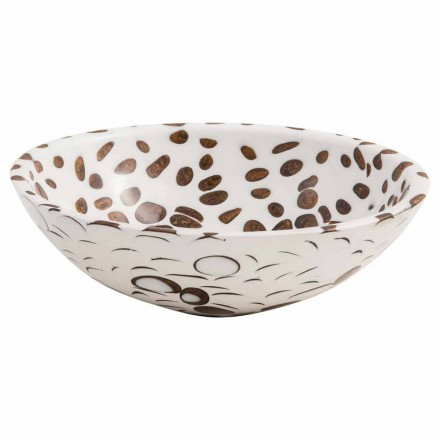 Modern round countertop basin handmade of resin, Bussi, unique piece