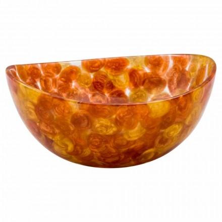 Design round countertop washbasin handmade of brown resin, Buonvicino