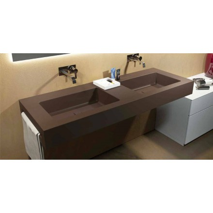 Modern double suspended sink in Luxolid made in Italy, Ruffano