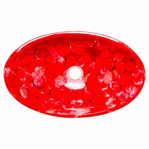 Modern countertop sink in red resin handmade, Buscate