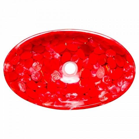 Modern countertop sink in red resin handmade, Buscate