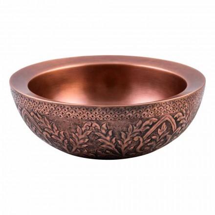 Design round countertop washbasin in copper, Muros, unique piece