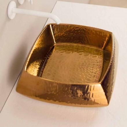 Bronze ceramic countertop sink Simon, modern design made in Italy