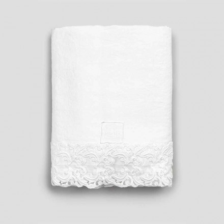 White Linen Flat Sheet with Lace for Double Bed of High Quality - Fiumana