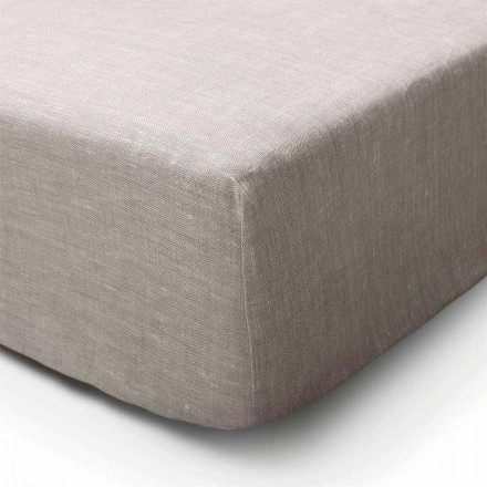 Pure Linen Fitted Sheet in Natural Color Made in Italy - Copertino
