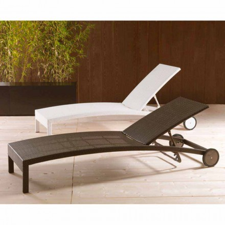 Adjustable garden chaise longue with wheels Sun Bed