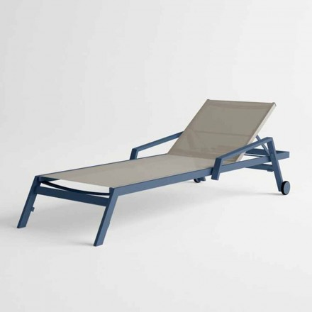 Outdoor Sunbed in Aluminum with Wheels and Armrests Modern Design - Carmine