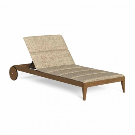 Outdoor Chaise Longue in Wood with Luxury Wheels - Cruise Teak by Talenti