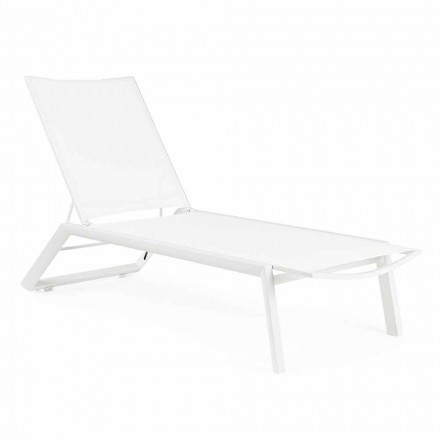 Reclining Outdoor Chaise Longue with Wheels, Aluminum and Textilene - Jewel