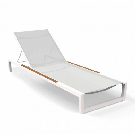 Stackable Garden Lounger with Wheels in Textilene - Alabama Alu Talenti