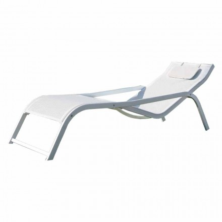 Stackable Garden Lounger in Aluminum and Canvas Made in Italy 2 Pieces - Ethan