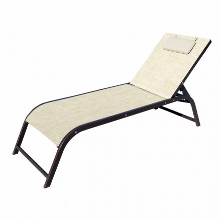 Garden Lounger in Aluminum and Luxury Canvas Made in Italy, 2 Pieces - Myrto