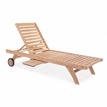 Modern Reclining Garden Teak Sunbed with Wheels - Canary