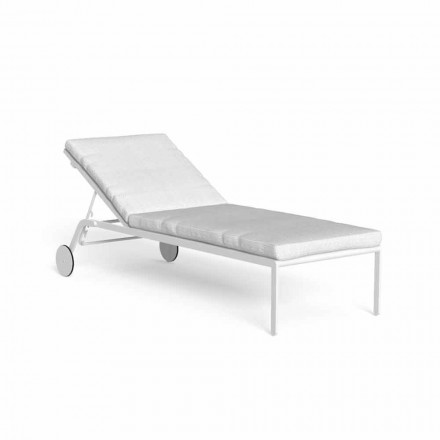 Reclining Garden Chaise Longue with Aluminum Wheels - Riviera by Talenti