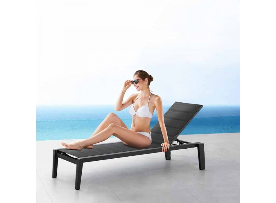 Aluminum Sunbed with Textilene Cushion, 3 Finishes - Moira