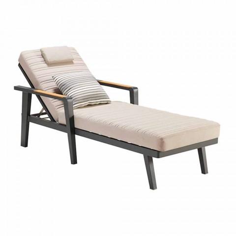 Aluminum Sunbed and Teak Armrests with Headrest - Moira