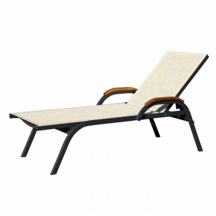 Sunbed in Aluminum, Canvas and Wood Made in Italy, 2 Pieces - Nisha