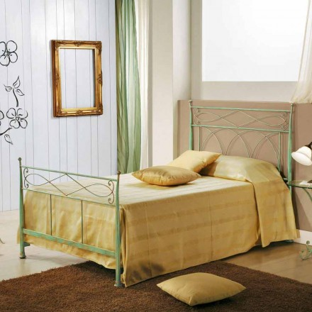 Wrought iron small double bed Gabriella, classic design, made in Italy