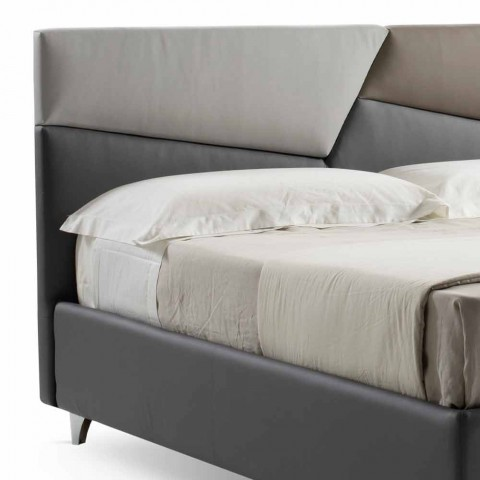 Bed with Double Container Upholstered in Faux Leather Made in Italy - Raggino