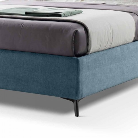 Bed with Double Container Upholstered in Made in Italy Fabric - Raggino