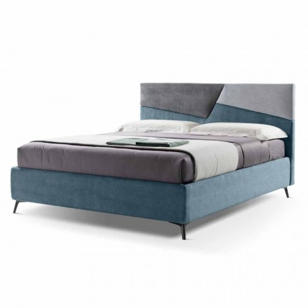 Double Bed with Container Upholstered in Made in Italy Fabric - Raggino