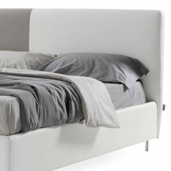 Bed with Double Container in Bicolor Ecoleather Made in Italy - Jasmine