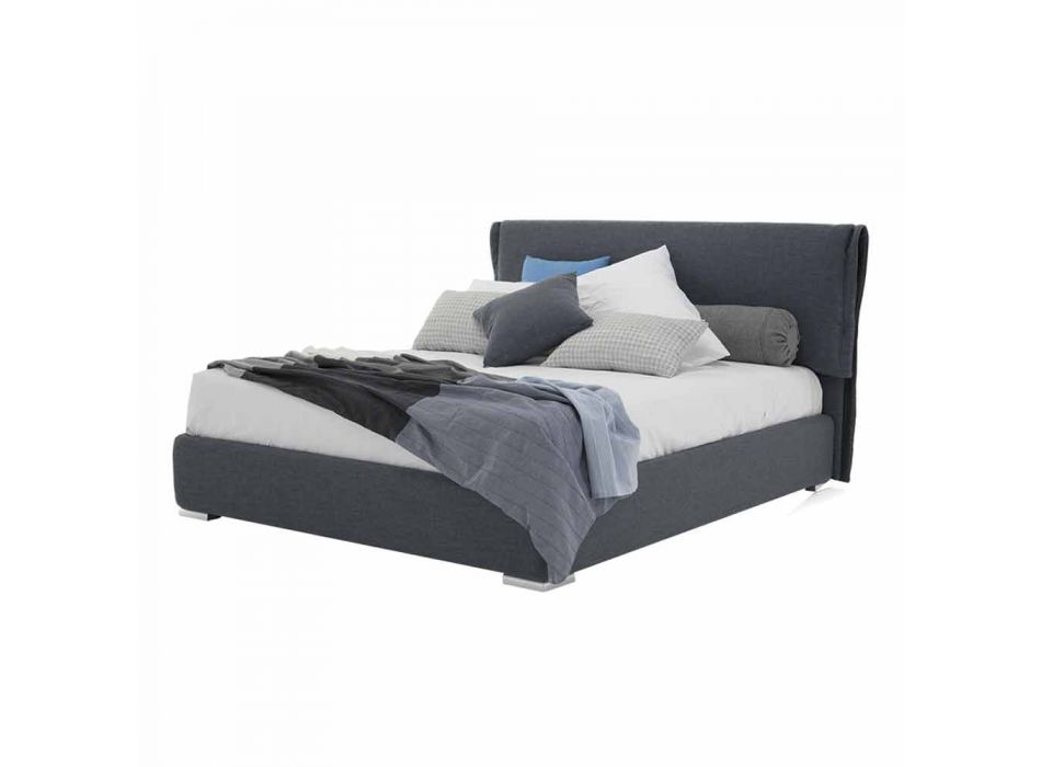 Bed with Double Container in Fabric or Faux Leather Made in Italy - Runner