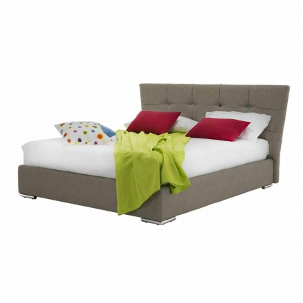 Upholstered Luxury Double Bed with Fabric or Faux Leather Box - Flour