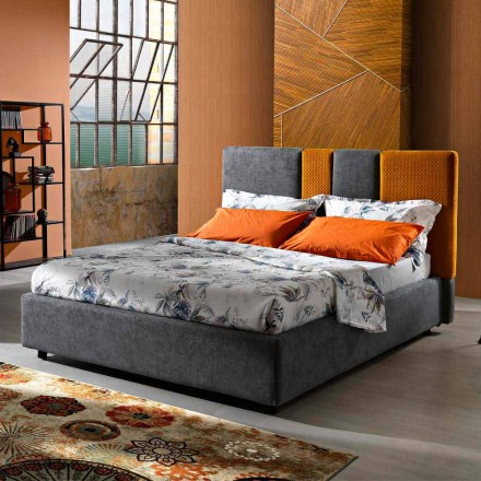 Modern Upholstered Double Bed with Folds or Quilted Design - Thomas