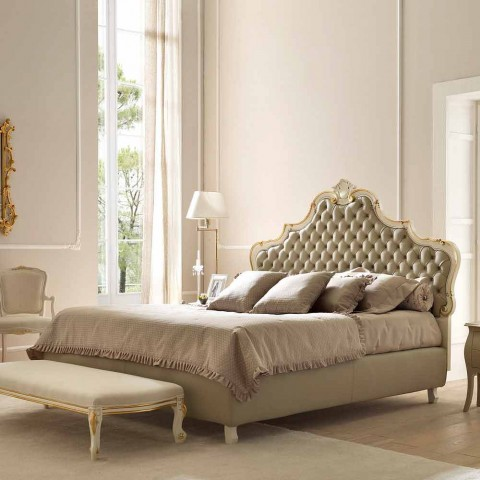 Double bed with storage unit, classic design, Chantal by Bolzan