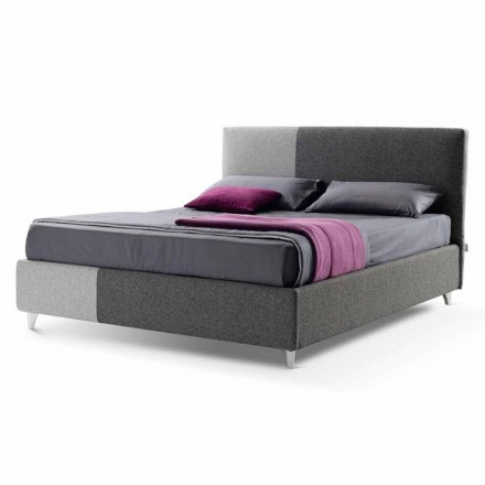 Double Bed with Box in Bicolor Fabric Made in Italy - Jasmine