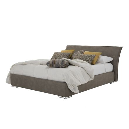 Double bed with container in fabric or eco-leather Made in Italy - Doremì
