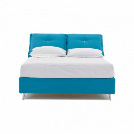 Double Bed with Container Covered in Fabric Made in Italy - Renato