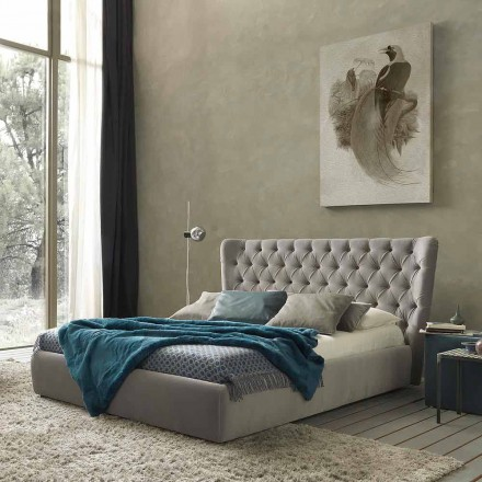 Double bed without box, contemporary design, Selene by Bolzan