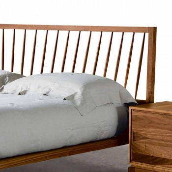 Design double bed 160x200cm with solid Alain walnut base