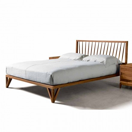 Modern design bed Alain, solid walnut bed structure, 160x200 cm