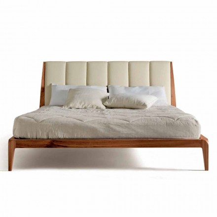 Modern bed Menardo with leather headboard, made in Italy, 160x200 cm