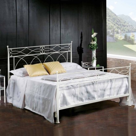 Wrought iron double bed Sydney, classic design, handmade in Italy