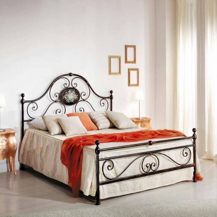 Wrought iron double bed Alexa, classic design, handmade in Italy