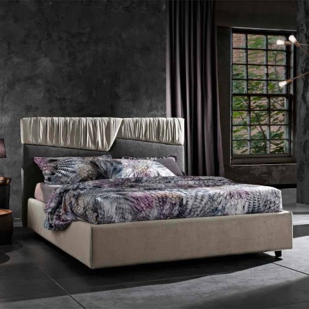 Modern Design Double Bed with Folded or Quilted Headboard - Alano